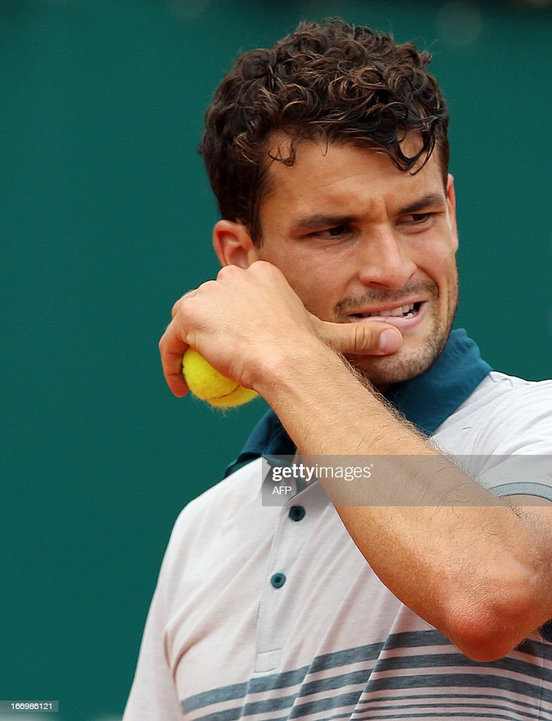 Bulgaria's Grigor Dimitrov reacts during his tennis match against Spain's Rafael Nadal during the Monte-Carlo ATP Masters Series Tournament tennis on April 19, 2013, in Monaco.