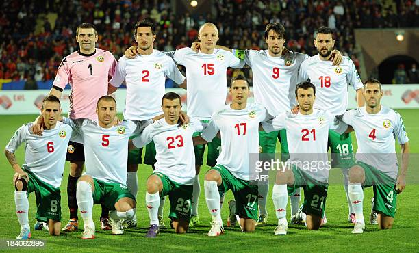 Bulgaria's national football team players pose for a photo before their FIFA 2014 World Cup Group B qualifying match against Armenia's national...