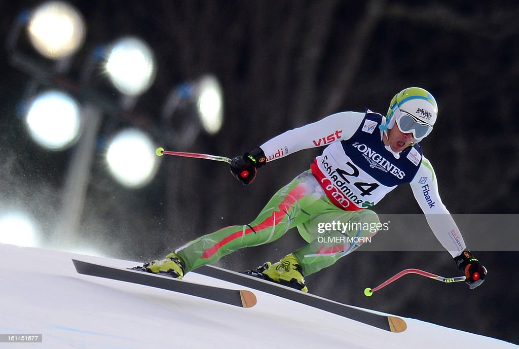 Bulgaria's Nikola Chongarov clears a gate during the downhill event during the men's super combined at the 2013 Ski World Championships in Schladming, Austria on February 11, 2013.
