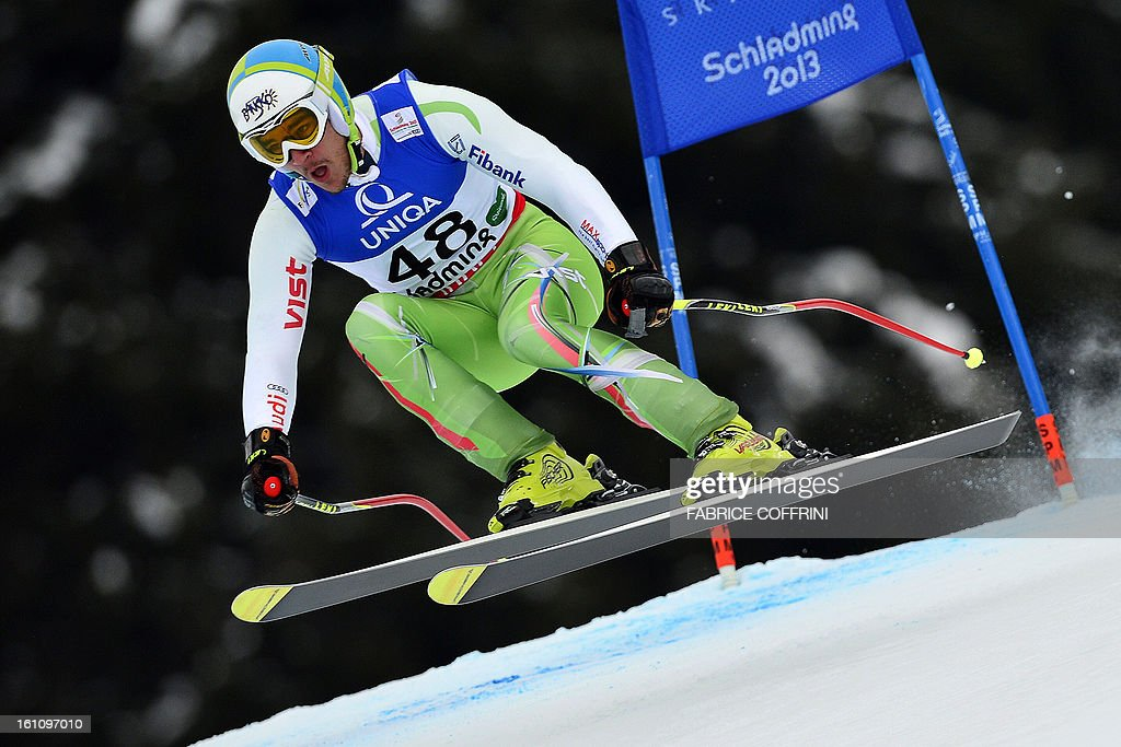Bulgaria's Nikola Chongarov competes during the men's downhill event of the 2013 Ski World Championships in Schladming, Austria on February 9, 2013.