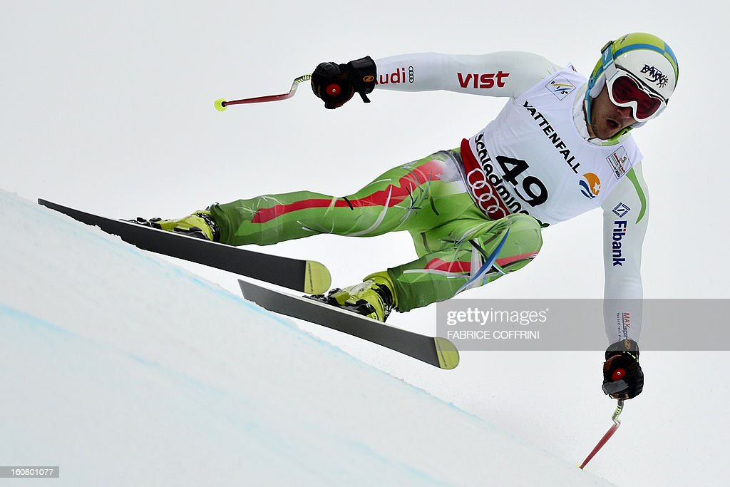 Bulgaria's Nikola Chongarov competes during the men's Super-G event of the 2013 Ski World Championships in Schladming, Austria on February 6, 2013.