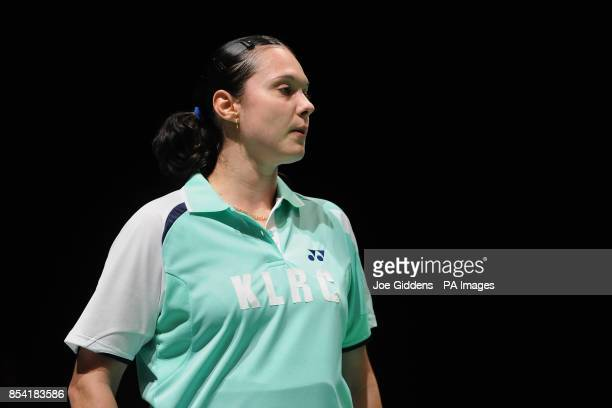 Bulgaria's Petya Nedelcheva during day two of the 2013 Yonex All England Badminton Championships at the National Indoor Arena Birmingham