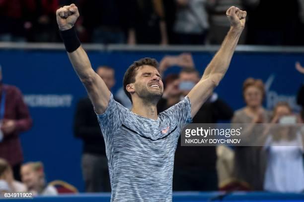 Bulgaria's player Grigor Dimitrov reacts after winning the final tennis match against Belgium's player David Goffin during the ATP Garanti Koza Sofia...