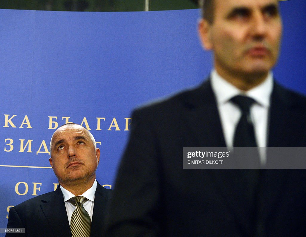 Bulgaria's Prime minister Boiko Borisov (L) listens to Interior minister Tsvetan Tsvetanov speaking during a press conference, after a national security conference in Sofia on February 5, 2013. The Bulgarian government said that two people with Canadian and Australian passports linked to the Lebanese militia movement Hezbollah were behind a bomb attack on Bulgaria's Black Sea coast in July that killed five Israeli tourists.