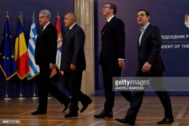 Bulgaria's Prime minister Boyko Borisov Greece's Prime minister Alexis Tsipras and Romania's Prime Minister Mihai Tudose arrives to attend talks with...