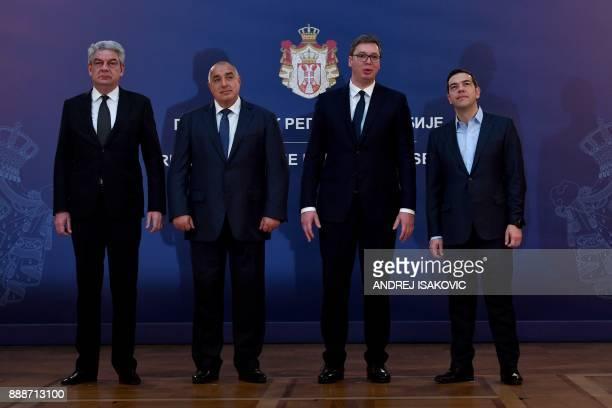 Bulgaria's Prime Minister Boyko Borisov Greece's Prime Minister Alexis Tsipras and Romania's Prime Minister Mihai Tudose pose for a picture with...