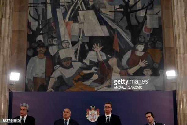 Bulgaria's Prime Minister Boyko Borisov Greece's Prime Minister Alexis Tsipras and Romania's Prime Minister Mihai Tudose attend a press conference...