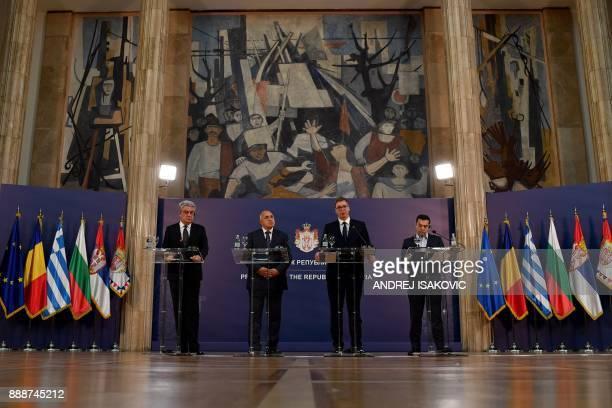 Bulgaria's Prime minister Boyko Borisov Greece's Prime minister Alexis Tsipras and Romania's Prime minister Mihai Tudose attend a joint press...