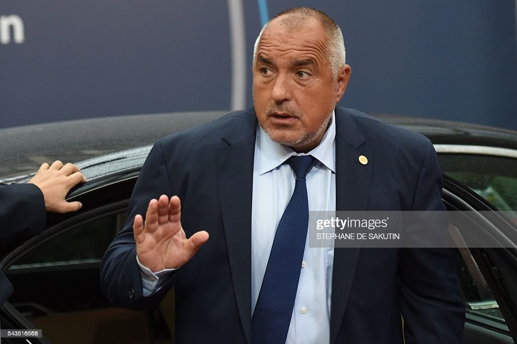 Bulgaria's Prime minister Boyko Borissov arrives for the second day of an EU - Summit at the EU headquarters in Brussels on June 29, 2016. European Union leaders will on June 29, 2016 assess the damage from Britain's decision to leave the bloc and try to prevent further disintegration, as they meet for the first time without a British representative. / AFP / STEPHANE