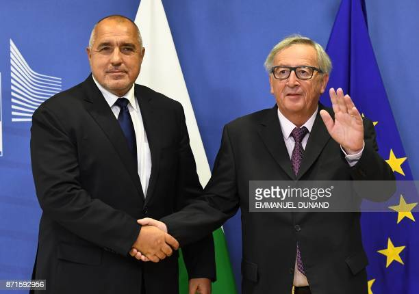 Bulgaria's Prime Minister Boyko Borissov is welcomed by European Commission President JeanClaude Juncker at the European Commission in Brussels on...