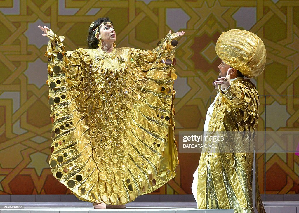 Bulgaria's soprano Krassimira Stoyanova in the role of 'Danae' and Poland's baritoner Tomasz Konieczny in the role of 'Jupiter' perform during the...