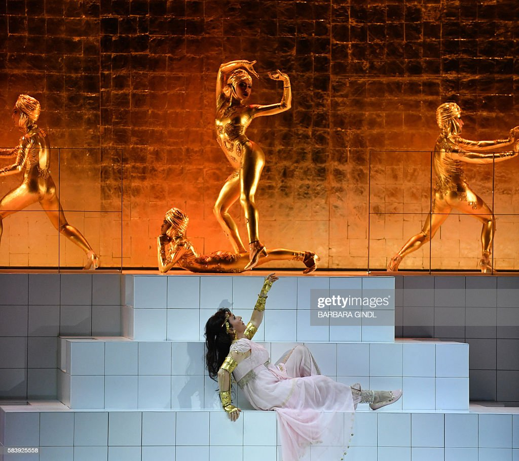 Bulgaria's soprano Krassimira Stoyanova in the role of 'Danae' performs during the rehearsal of Richard Strauss 'Die Liebe der Danae' in Salzburg on...