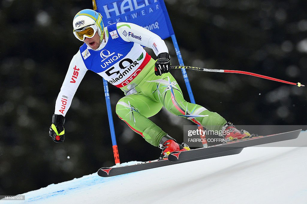 Bulgaria's Svetoslav Georgiev competes during the men's downhill event of the 2013 Ski World Championships in Schladming, Austria on February 9, 2013.