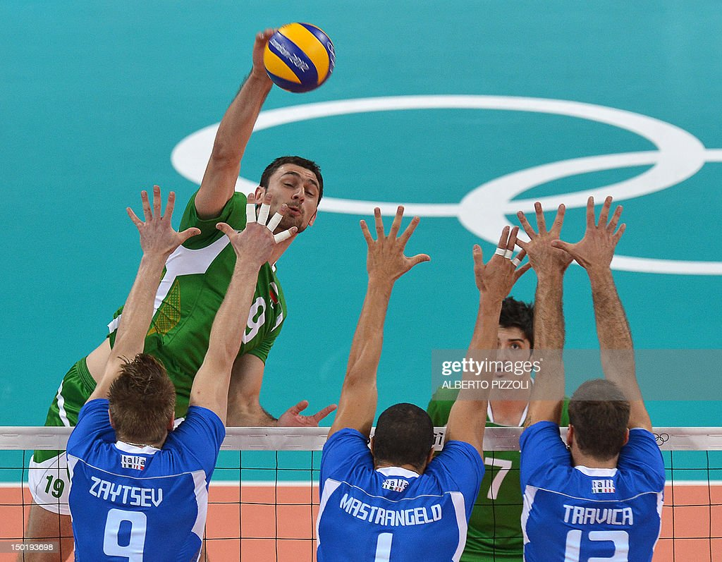 Bulgaria's Tsvetan Sokolov spikes the ball during the men's volleyball bronze medal match of the London 2012 Olympics Games against Italy in London...