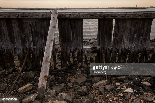 A bulkhead still damaged from Hurricane Sandy in 2012 stands on Beach 96th Street at Jamaica Bay in Averne on the Rockaway peninsula in the Queens...