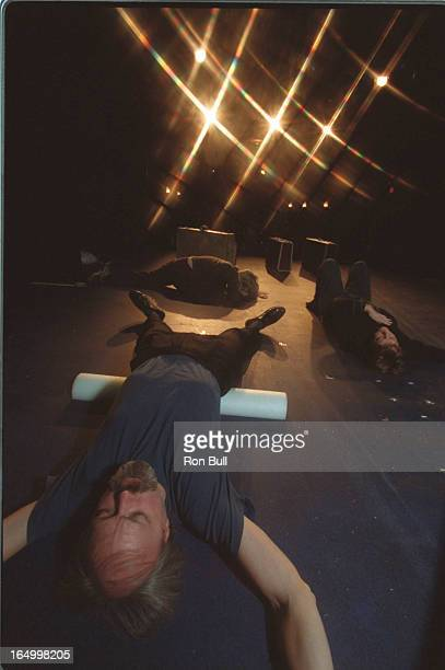 Bull 11/07/00 Backstage Pass pic on stage for Chekhovs Shorts Actor Dean Gilmour who plays Yakov does exercises with other cast members on stage for...