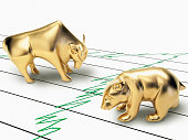 Bull and Bear figurines on financial chart, close-up