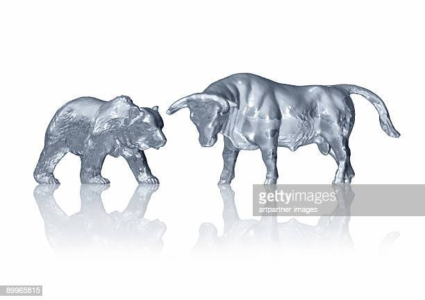 Bull and Bear in gold