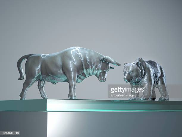 Bull and Bear in silver