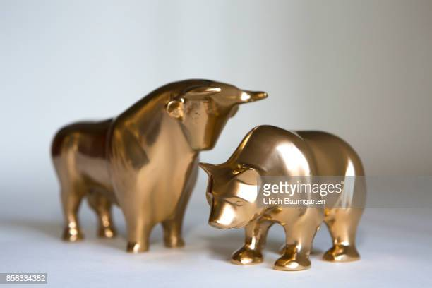 Bull and bear symbol for the ups and downs at the stock markets of the world