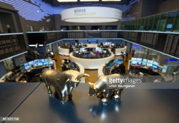 Bull and bear symbol for the ups and downs on the exchanges of the world in the trading hall of the Frankfurt Stock Exchange
