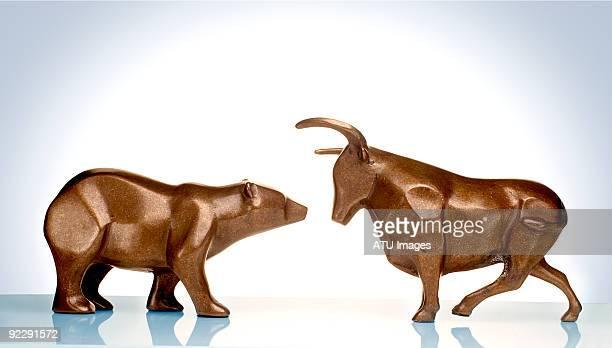 Bull bear facing each other