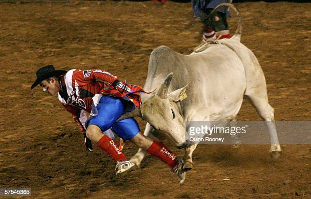 A bull charges at a clown during the State of Origin International Rodeo at Rod Laver Arena May 6 2006 in Melbourne Australia