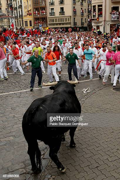 A bull from the Victorio Del Rio Cortes's fighting bulls turns back towards revellers near the end of the run on the fourth day of the San Fermin...