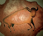 Image of the bull like cave painting - primitive art