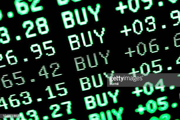 bull mercado de compra de la pantalla verde de datos comerciales de stock