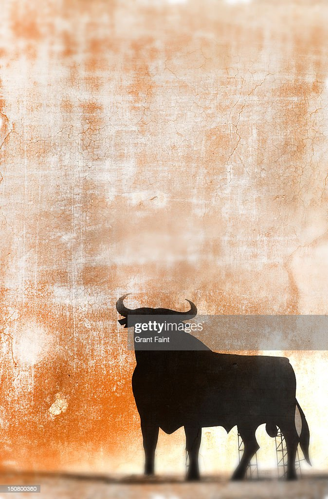 Bull signage on textured background