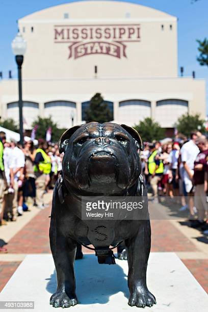 Bulldog statue out the stadium before a game between the Mississippi State Bulldogs and the Northwestern State Demons at Davis Wade Stadium on...