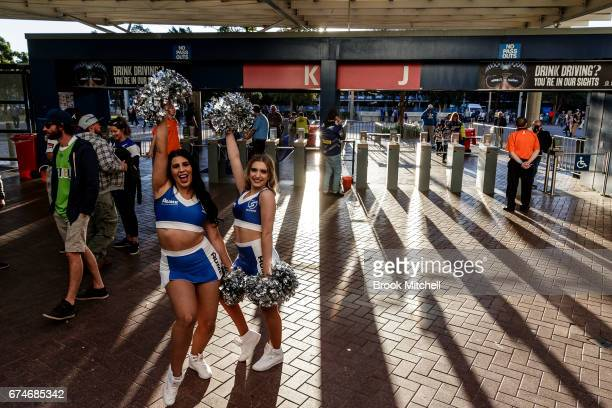 Bulldogs cheerleaders greet fans before the round nine NRL match between the Canterbury Bulldogs and the Canberra Raiders at ANZ Stadium on April 29...