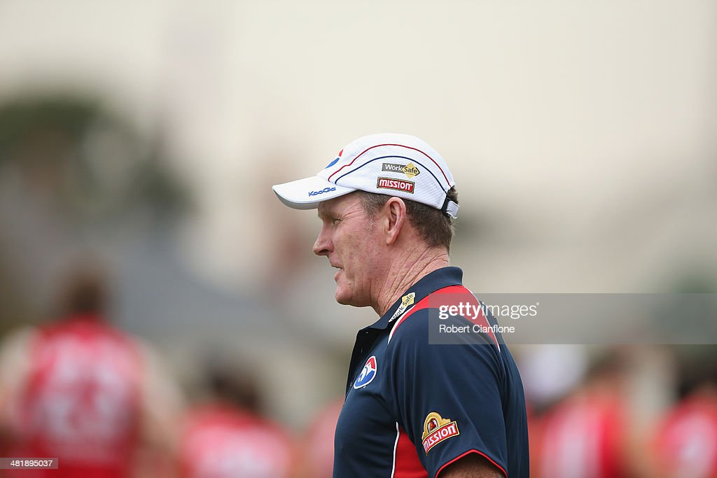 Bulldogs coach Brendan McCartney looks on during a Western Bulldogs AFL training session at Whitten Oval on April 2, 2014 in Melbourne, Australia.