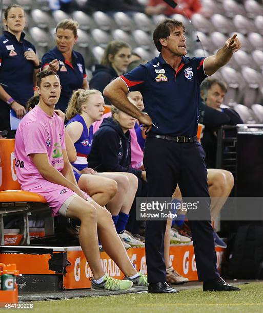 Bulldogs coach Craig Starcevic gestures during a Women's AFL exhibition match between Western Bulldogs and Melbourne at Etihad Stadium on August 16...