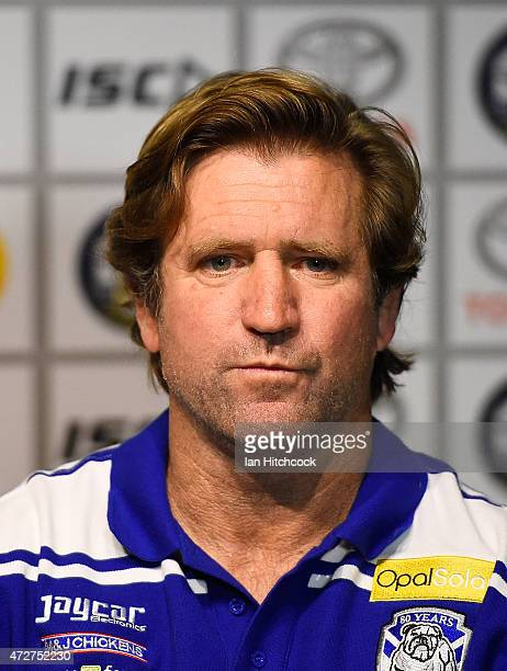 Bulldogs coach Des Hasler looks on at the post match media conference at the end of during the round nine NRL match between the North Queensland...