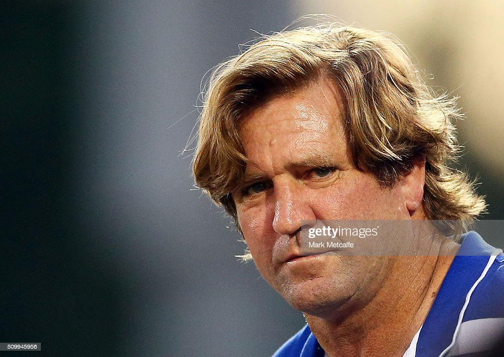 Bulldogs coach <a gi-track='captionPersonalityLinkClicked' href=/galleries/search?phrase=Des+Hasler&family=editorial&specificpeople=556211 ng-click='$event.stopPropagation()'>Des Hasler</a> looks on during the NRL Trial match between the Canterbury Bulldogs and the Penrith Panthers at Pepper Stadium on February 13, 2016 in Sydney, Australia.