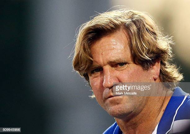 Bulldogs coach Des Hasler looks on during the NRL Trial match between the Canterbury Bulldogs and the Penrith Panthers at Pepper Stadium on February...