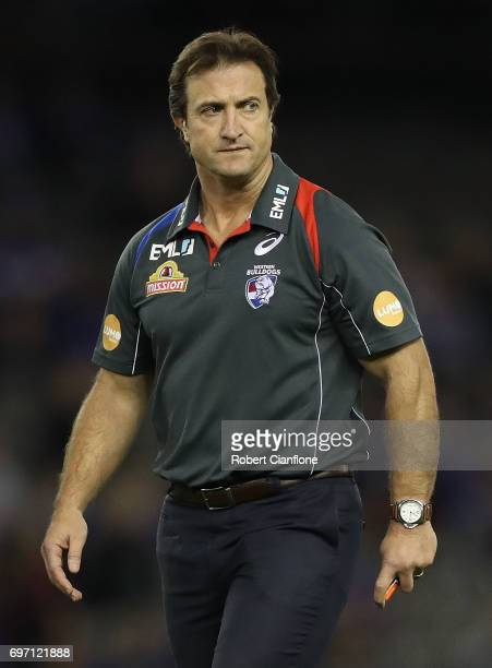 Bulldogs coach Luke Beveridge is seen prior to the round 13 AFL match between the Western Bulldogs and the Melbourne Demons at Etihad Stadium on June...