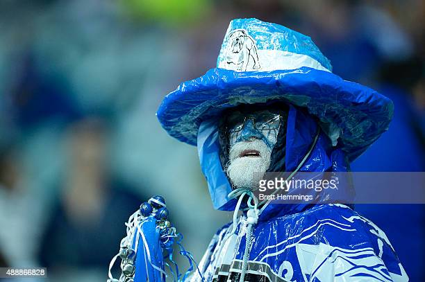 Bulldogs fan looks on during the First NRL Semi Final match between the Sydney Roosters and the Canterbury Bulldogs at Allianz Stadium on September...