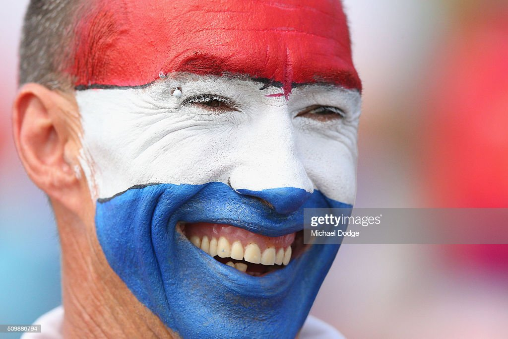 A Bulldogs fan shows his support during the Western Bulldogs AFL intra-club match at Whitten Oval on February 13, 2016 in Melbourne, Australia.