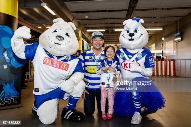 Bulldogs fans and mascots before the round nine NRL match between the Canterbury Bulldogs and the Canberra Raiders at ANZ Stadium on April 29 2017 in...