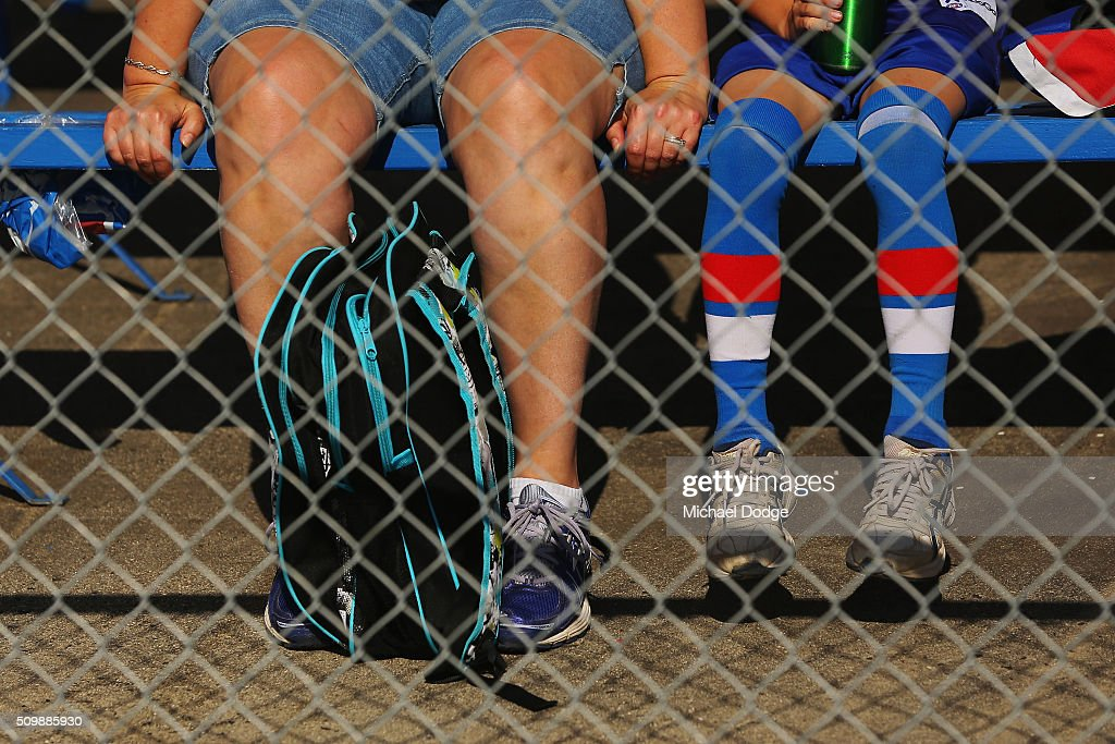 Bulldogs fans sit and wait for the start of play during the Western Bulldogs AFL intra-club match at Whitten Oval on February 13, 2016 in Melbourne, Australia.