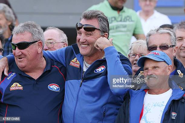 Bulldogs Hall Of Fame Legend Doug Hawkins reacts while catching up with fans during the Western Bulldogs IntraClub at Whitten Oval on March 13 2014...
