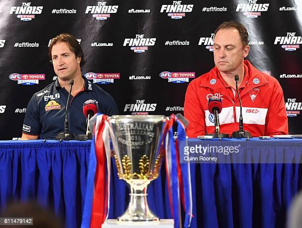 Bulldogs head coach Luke Beveridge and Swans head coach John Longmire speak to the media before the 2016 AFL Grand Final Parade on September 30 2016...
