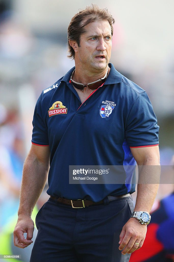 Bulldogs head coach Luke Beveridge looks upfield during the Western Bulldogs AFL intra-club match at Whitten Oval on February 13, 2016 in Melbourne, Australia.