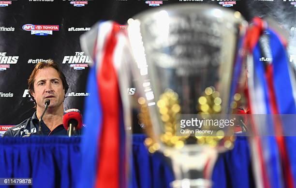 Bulldogs head coach Luke Beveridge speaks to the media before the 2016 AFL Grand Final Parade on September 30 2016 in Melbourne Australia