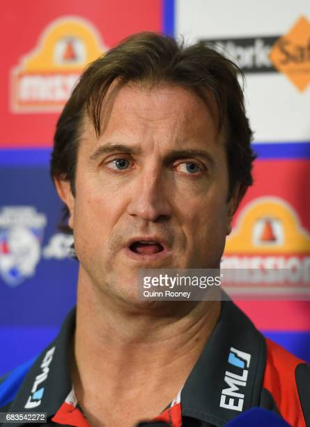 Bulldogs head coach Luke Beveridge speaks to the media during a Western Bulldogs AFL training session at Whitten Oval on May 16 2017 in Melbourne...