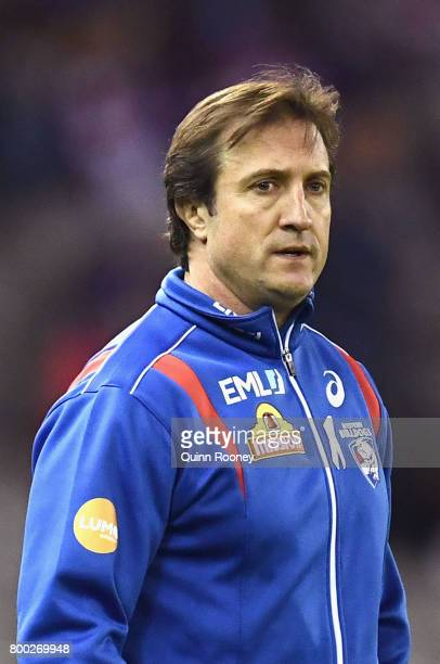 Bulldogs head coach Luke Beveridge walks out onto the field during the round 14 AFL match between the Western Bulldogs and the North Melbourne...