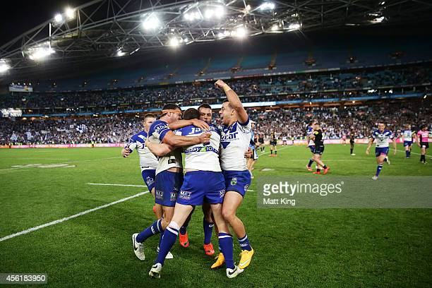 Bulldogs players celebrate victory at the end of the NRL Second Preliminary Final match between the Penrith Panthers and the Canterbury Bulldogs at...